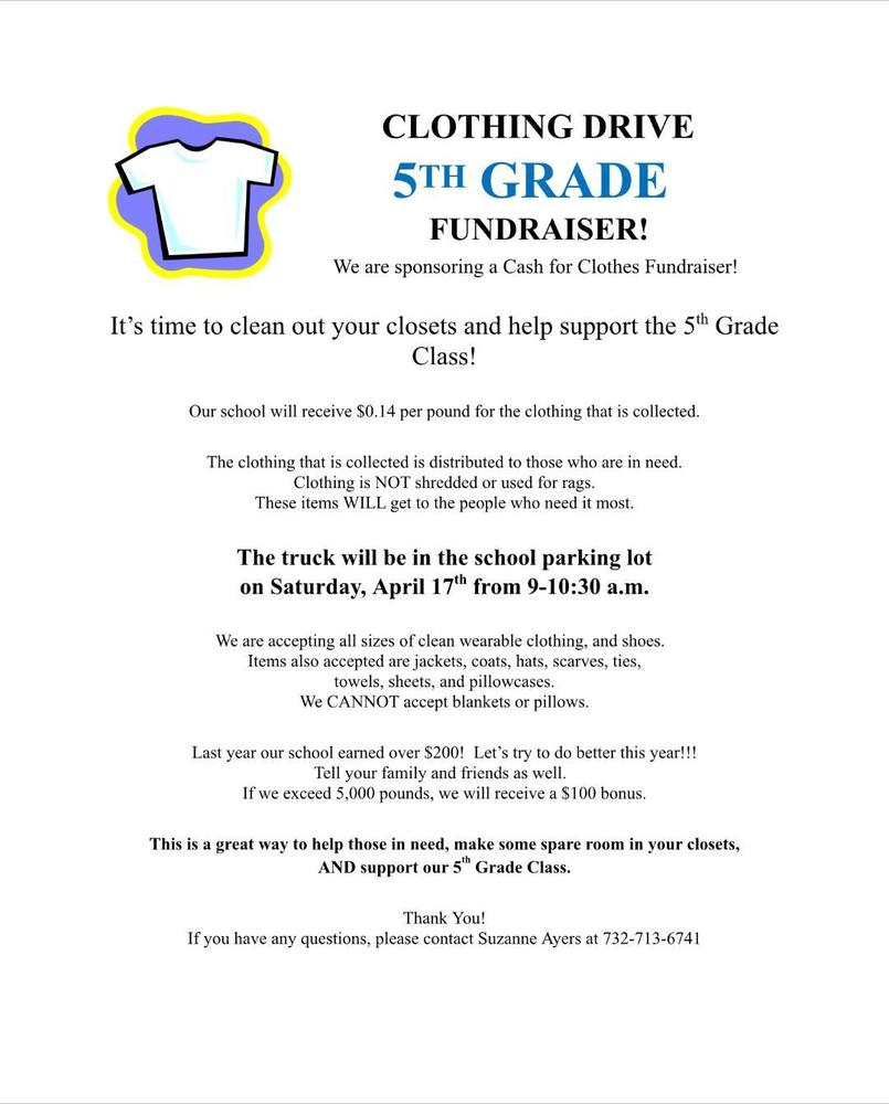 5th Grade Clothing Drive Fundraiser