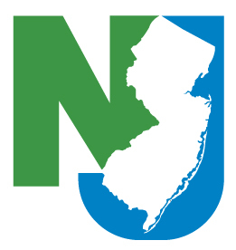 The outline of the state of NJ with the letters NJ around it